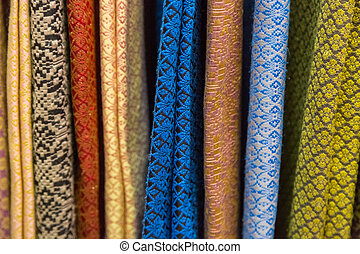 Raw of colorful Thai silk handcraft old vintage torn from natural materials