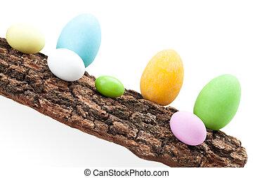 Raw Of Easter Eggs On Bark