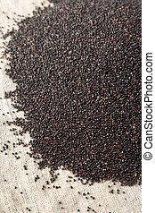 Raw organic black quinoa on cloth, side view. Close-up.