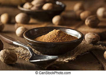 Raw Organic Dry Nutmeg to Use as a Spice