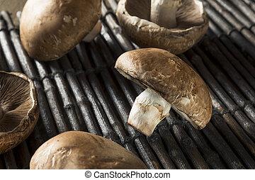 Raw Organic Portobello Mushrooms Ready to Cook
