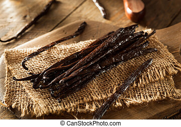 Raw Organic Vanilla Beans Ready to Cut