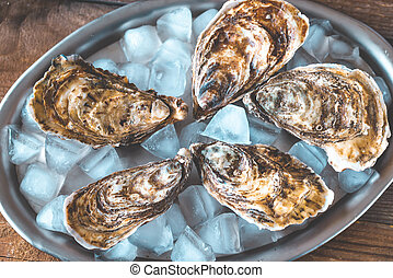 Raw oysters on the metal tray