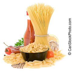 raw pasta and food ingredien with spices