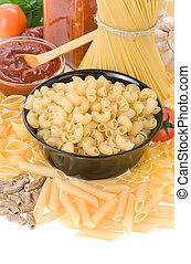 raw pasta and food ingredient