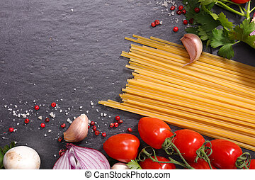 raw pasta and ingredient