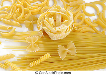 raw pasta on white