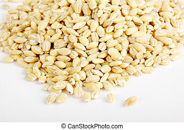 raw perl barley isolated on the white background