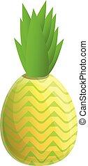 Raw pineapple icon, cartoon style