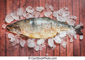 Raw pink salmon fish with ice on a dark table.