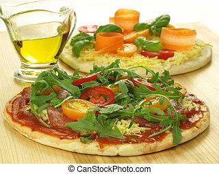 Raw pizzas