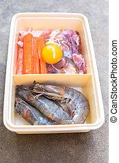 Raw pork and shrimp for shabu set