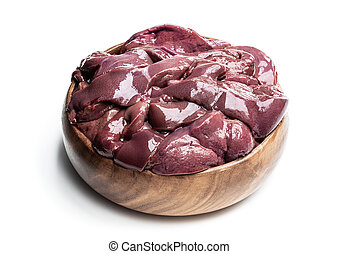 Raw pork liver in wooden bowl isolated on white