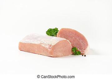 Raw pork loin - Raw boneless pork loin on white background
