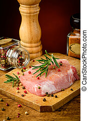 Raw pork meat and seasoning - still life with raw pork meat ...