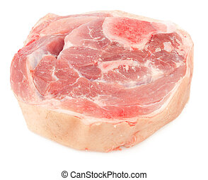 Raw pork meat with bone and skin isolated