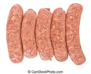 raw pork sausages, isolated on white