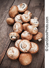 Raw portabello mushrooms - Pile of raw portabello mushrooms...