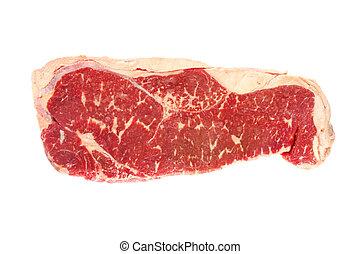 Raw Porterhouse Steak - Raw grain-fed porterhouse steak,...