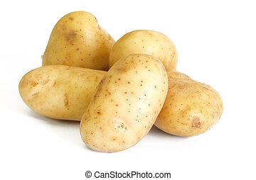 Group of raw potato isolated on white background