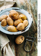 Raw potatoes in a bowl