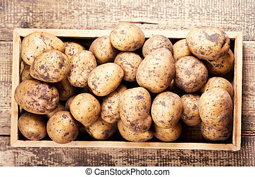 raw potatoes in a box