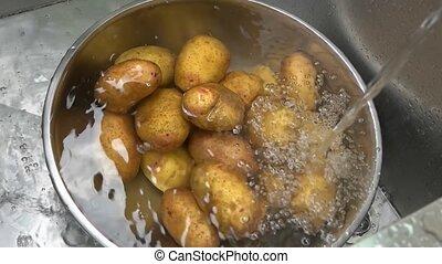 Raw potatoes in water. Fresh root vegetable.