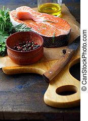 Raw Red Fish on a cutting board