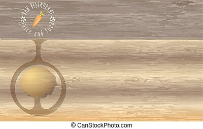 Raw restaurant icon and wooden background