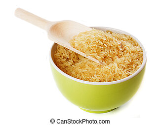 Raw rice in a bowl isolated on white