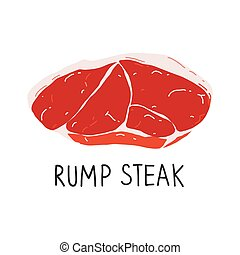 Raw rump steak isolated, uncooked meat, beef cut icon, ...