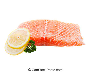 A fillet of raw salmon with lemon on a white background