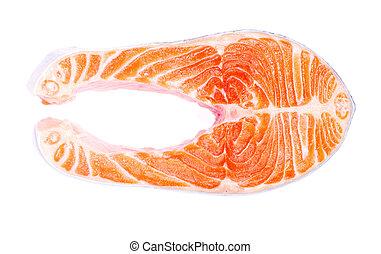 salmon fillet  - raw salmon fillet isolated on white