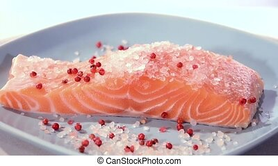 Raw salmon fillet on a blue plate