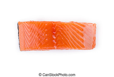 raw salmon piece isolated on white background, top view