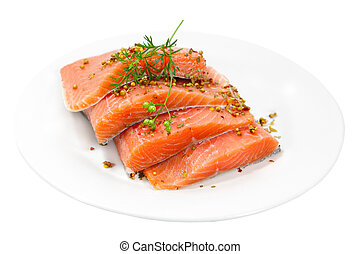 Raw Salmon - Raw salmon fillet with spices on plate