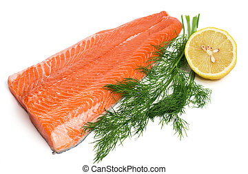 raw salmon ready for cookig, isolated