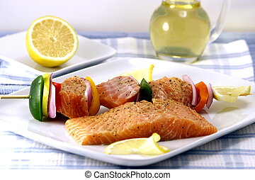raw salmon shish kabob