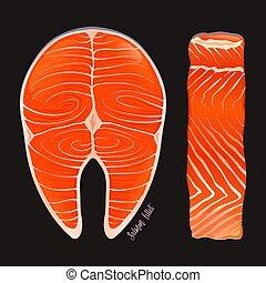 Raw Salmon Steak Fillet Illustration