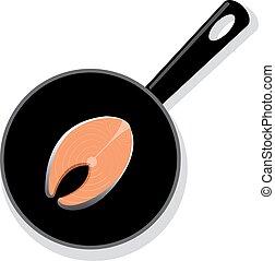 Raw salmon steak on a black round iron pan