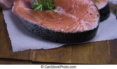 Raw salmon steak - Fresh fish. Salmon. Raw salmon steak with...
