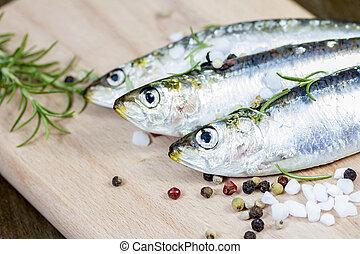 Raw sardine with spices - Studio shot of raw sardine with...