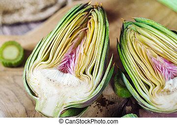 Genuine and fresh raw artichoke from Sardinia region in Italy