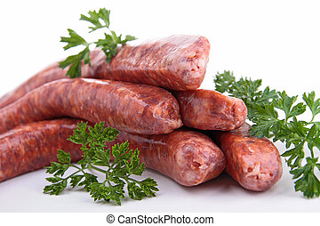 raw sausage and ingredient