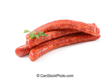 raw sausage isolated on white background