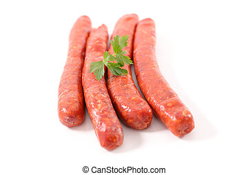 raw sausage on white background