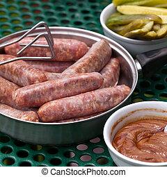 Raw sausages. Selective focus.
