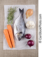 raw sea bream with vegetable - raw sea bream with carrot, ...