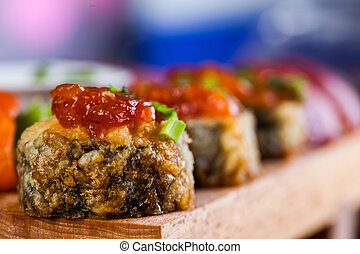 Raw seafood, Japanese sushi set