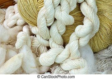 raw silk thread, Hand made of raw thread silk clothing in the silk farm